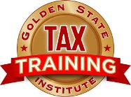 Golden State Tax Training Logo. IRS RTRP Study Guide and CTEC Continuing Education.
